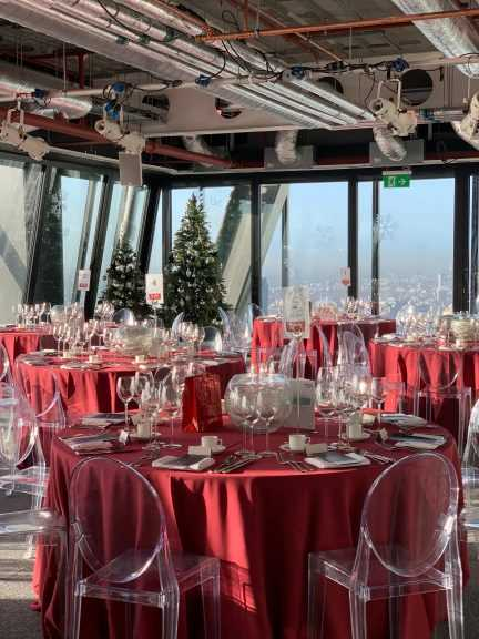 Seated Dinner with Christmas tree